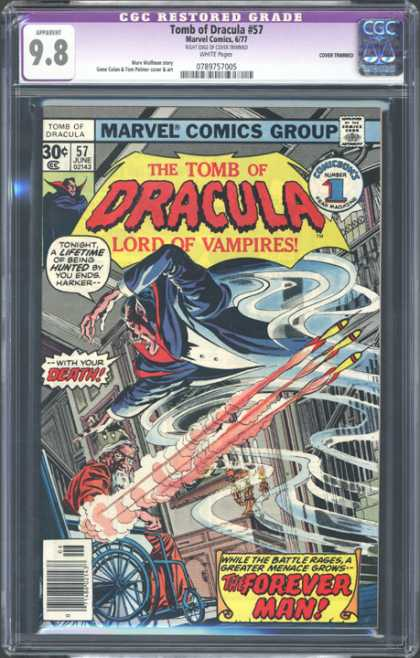 CGC Graded Comics - Tomb of Dracula #57 (CGC) - The Tomb Of Dracula Lord Of Vampires - The Forever Man - Cgc Restored Grade - Tonight A Lifetime Of Being Hunted By You Endsharxer - With Your Death