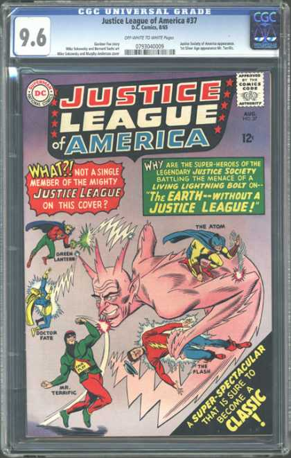 CGC Graded Comics - Justice League of America #37 (CGC) - Classic Comics - 12cent Comics - Cgc - Costumes - Pink Horns