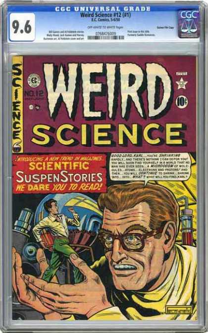 CGC Graded Comics - Weird Science #12 (#1) (CGC) - Weird Science - Microscope - Little Man - Test Tube - Scientific Suspen Stories