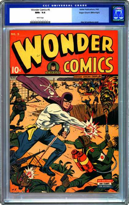 CGC Graded Comics - Wonder Comics #5 (CGC) - Japanese Soldiers - Chasm - Guns - Flames - Wire Fence