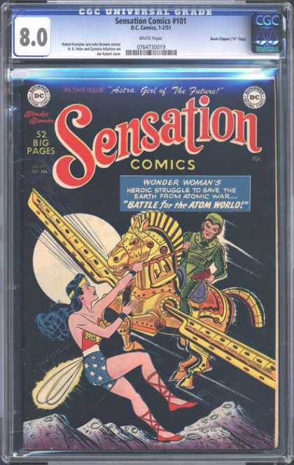 CGC Graded Comics - Sensation Comics #101 (CGC) - Wonder Womans - Battle For The Atom World - Horse - The Moon - Flying Horse