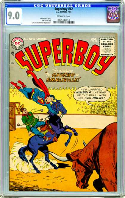 CGC Graded Comics - Superboy #42 (CGC) - Gaucho - Smallville - Rodeo - Bull - Lasso