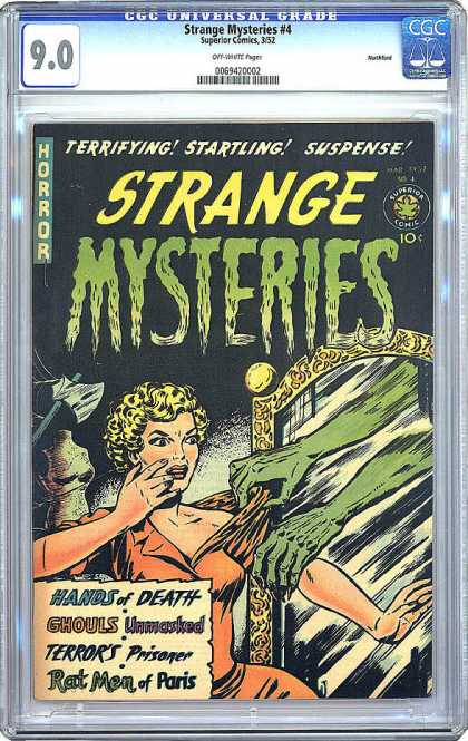 CGC Graded Comics - Strange Mysteries #4 (CGC) - Woman - Mirror - Green Hands - Axe - Webs