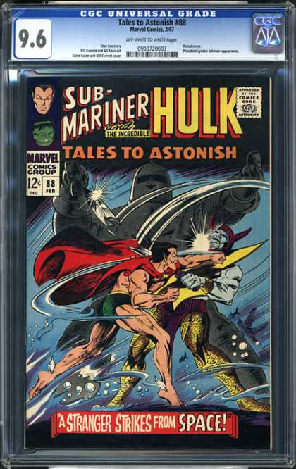 CGC Graded Comics - Tales to Astonish #88 (CGC) - Hulk - Sub-mariner - Marvel Commics Group - Tales To Astonish - A Strange Strikes Fromv Space