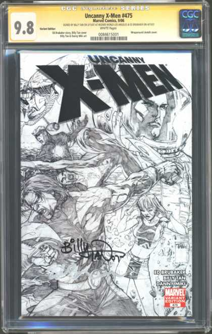 CGC Graded Comics - Uncanny X-Men #475 (CGC) - Billy Tan Autographed - Ed Brubaker - Danny Miki - Black And White - Sketch