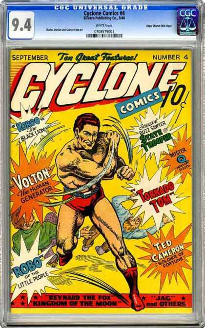 CGC Graded Comics - Cyclone Comics #4 (CGC) - Cyclone Comics - Ten Great Features - Voltron - Koroo - Tornado Tom
