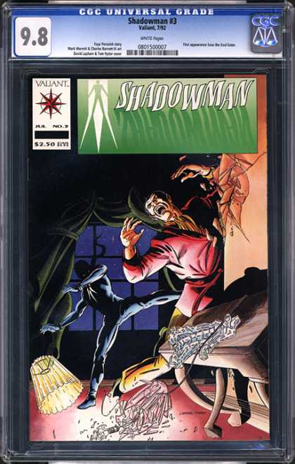 CGC Graded Comics - Shadowman #3 (CGC) - Broken Lamp - Table - Wall Splitting - Dark Figure In Shadows - Man Kicked Against Wall