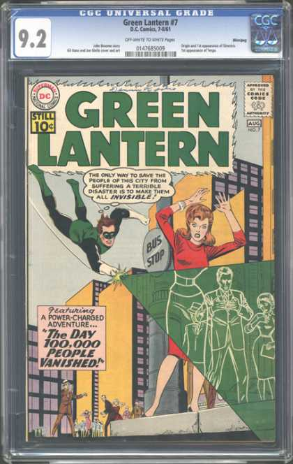 CGC Graded Comics - Green Lantern #7 (CGC) - The Day 100000 People Vanished - Invisibility Device - Citizens - Bus Stop - Hero