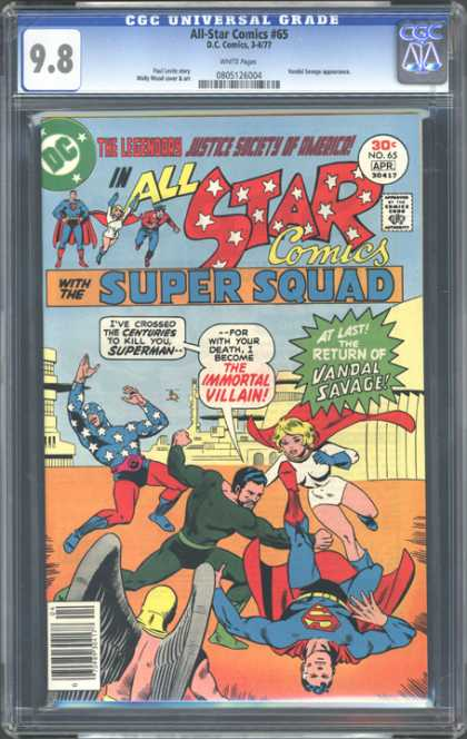 CGC Graded Comics - All Star Comics #65 (CGC) - Dc Comics - All Star Comics 65 - Super Squad - Super Man - The Return Of Vandal Savage