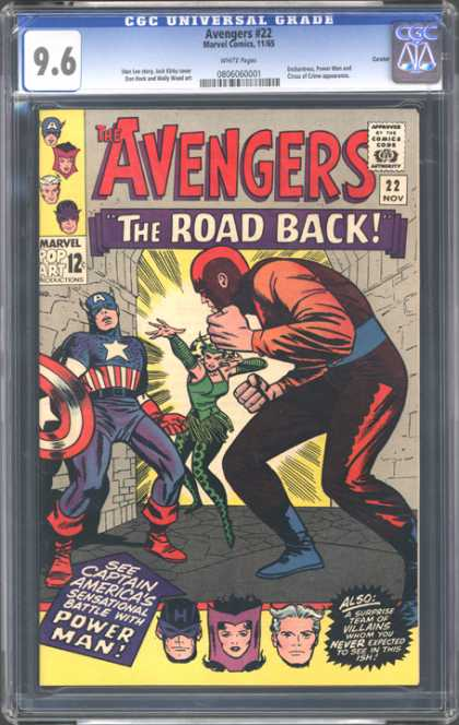 CGC Graded Comics - Avengers #22 (CGC) - The Road Back - Marvel - Pop Art - 96 - Captain America