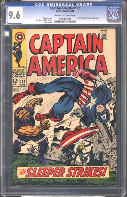 CGC Graded Comics - Captain America #102 (CGC) - Captain America - Marvel Comics - Red Boots - Red Gloves - Steel Sculpture