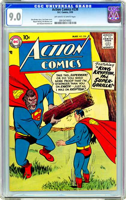 CGC Graded Comics - Action Comics #238 (CGC) - Action Comics - King Krypton - Super Gorilla - Superman - Tree