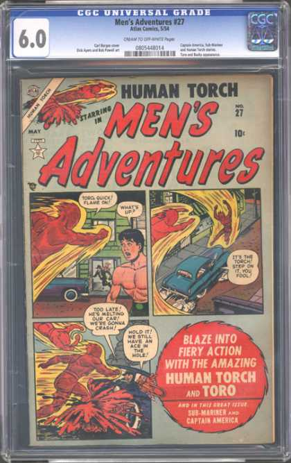 CGC Graded Comics - Men's Adventures #27 (CGC) - Cgc Hologram - Torch - Car - Toro - Building