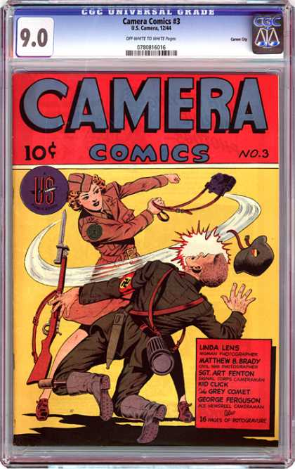 CGC Graded Comics - Camera Comics #3 (CGC) - Purse - Lady - Halmet - Gun - Nazi