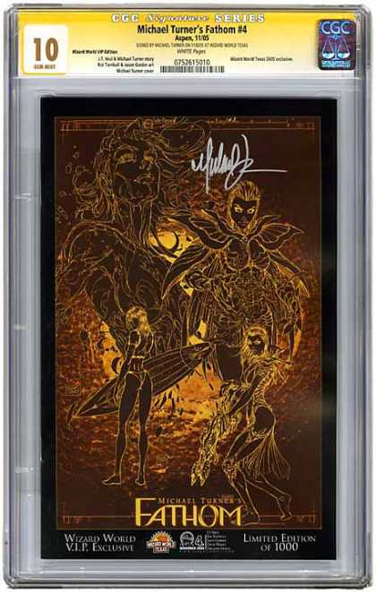 CGC Graded Comics - Michael Turner's Fathom #4 (CGC) - Fathom 4 - Surfer - Limited Edition - Signed - Sci-fi