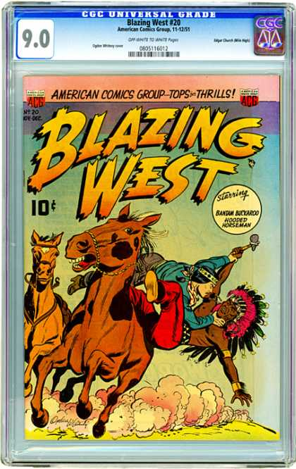CGC Graded Comics - Blazing West #20 (CGC) - Blazing West - Horses - Indian - Batam Buckaroo - Hooded Horseman
