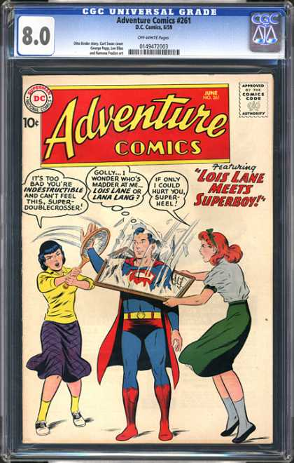 CGC Graded Comics - Adventure Comics #261 (CGC) - Super Man - Lois Lane - Lana Lang - Cgc Universal Grade 80 - Adventure Comics