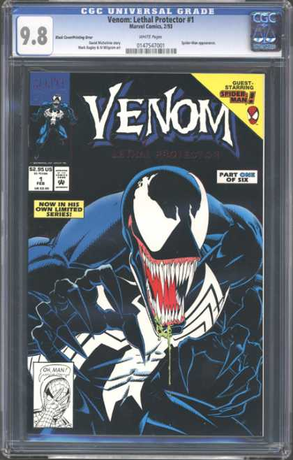 CGC Graded Comics - Venom: Lethal Protector #1 (CGC) - Venom - Spiderman - Sharp Teeth - Tongue - Now In His Own Limited Series