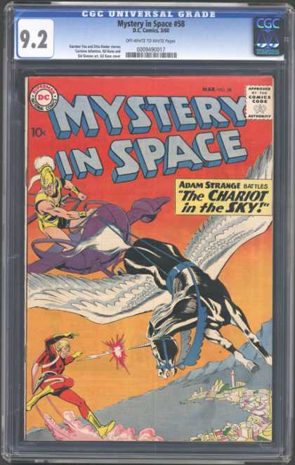 CGC Graded Comics - Mystery in Space #58 (CGC) - Adam Strange - Unicorn - The Chariot In The Sky - Flying - Sea