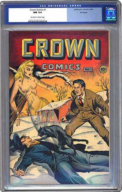 CGC Graded Comics - Crown Comics #1 (CGC) - Pratically Nude Female Ghost - Black Cat - Man Attacked - Winter - Cabin