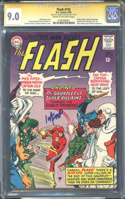 CGC Graded Comics - Flash #155 (CGC) - The Pied Piper Mirror Master Captain Gold - Spider Man - Guns - People Are Watching - Fastest Man Alive
