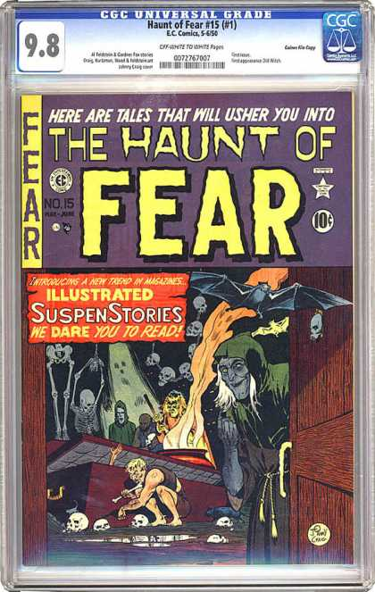 CGC Graded Comics - Haunt of Fear #15 (#1) (CGC) - Witch - The Haunt Of Fear - Tales - Skeleton - Bats