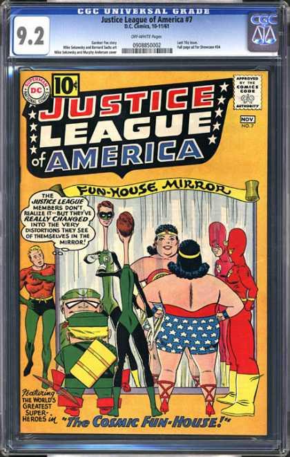 CGC Graded Comics - Justice League of America #7 (CGC) - Fun House Mirror - Wonder Woman - The Cosmic Fun House - Super Heroes - Costumes