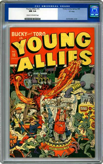 CGC Graded Comics - Young Allies #15 (CGC) - Young Allies - Bucky - Toro - No15 - Spectacle