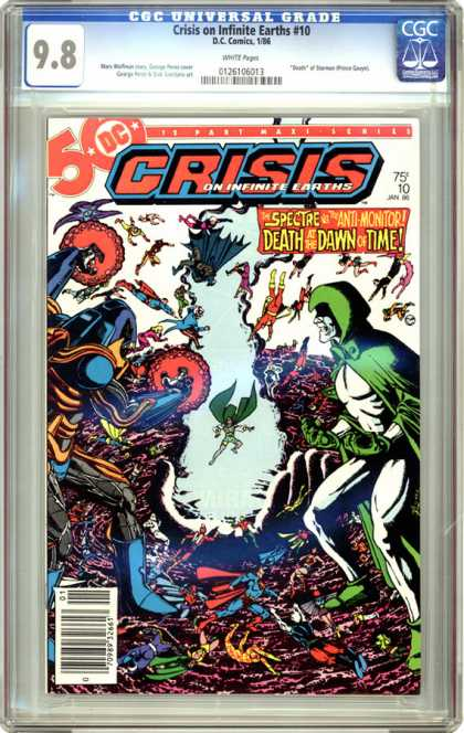 CGC Graded Comics - Crisis on Infinite Earths #10 (CGC) - Death - Dc - Red Cape - Green Cape - Crisis