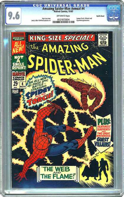 CGC Graded Comics - Amazing Spider-Man Annual #4 (CGC) - The Web - Marvel Comics Group - Spidey And The Torch - The Flame - King-size Apecial