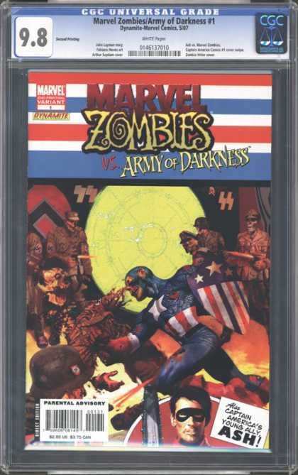 CGC Graded Comics - Marvel Zombies/Army of Darkness #1 (CGC) - Zombies - Shield - Yellow - Dead - Nazis