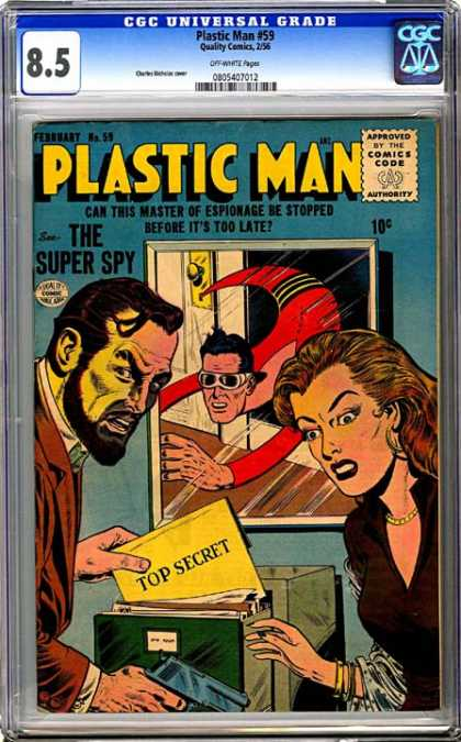 CGC Graded Comics - Plastic Man #59 (CGC) - Evil - Top Secret Actions - Golden Necklace - Action - Superhero