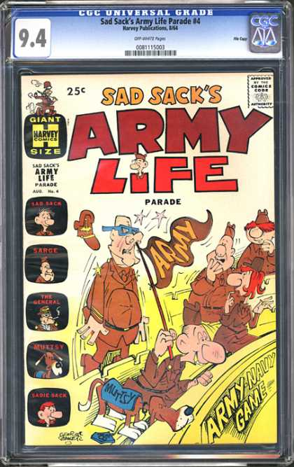 CGC Graded Comics - Sad Sack's Army Life Parade #4 (CGC) - Sad Sacks Army Life Parade - Comics Code - Giant Size - Harvey Comics - Army-navy Game