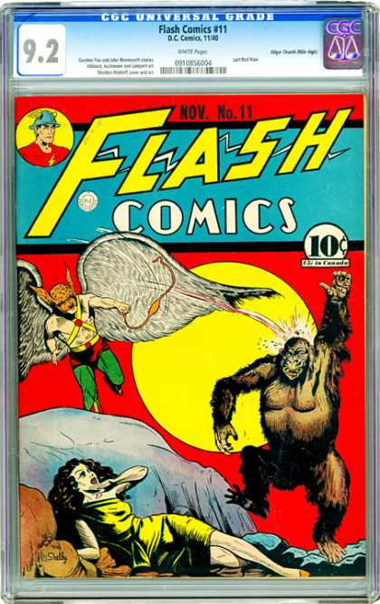 CGC Graded Comics - Flash Comics #11 (CGC) - 92 - Flash Comics - Dc Comics - Cap - Gorilla