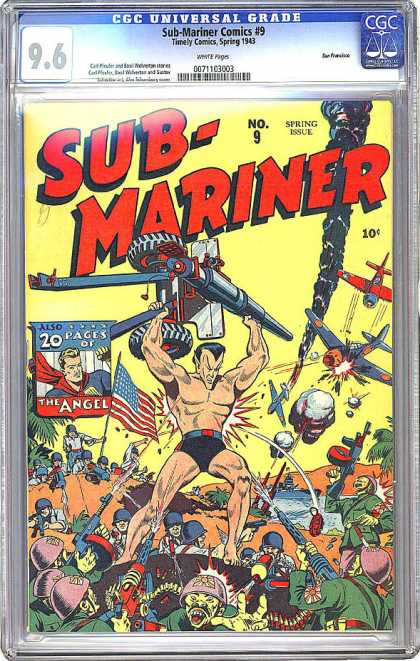 CGC Graded Comics - Sub-Mariner Comics #9 (CGC) - Planes - Japanese - Guns - War - Tank