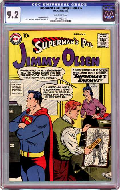CGC Graded Comics - Superman's Pal Jimmy Olsen #35 (CGC) - Supermans Pal - Jimmy Olsen - Woman - Superhero - Man
