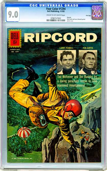 CGC Graded Comics - Four Color #1294 (CGC) - Mountains - Parachute - Airplane - Marooned Mountaineers - Red Helmet