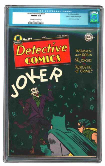 CGC Graded Comics - Detective Comics #114 (CGC) - The Joker - Batman Acrostic Of Crime - Batman And Robin - Batman Comics - Batman And Robin Detect Crime