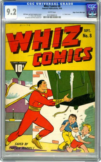 CGC Graded Comics - Whiz Comics #8 (CGC) - Kids - Falling Safe - Superhero - 10 Cents - September