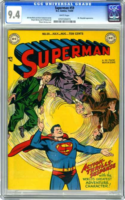 CGC Graded Comics - Superman #59 (CGC) - Men In Suits - Spinning - Worlds Greatest Adventure Character - Action Thrills Suspense - No 59