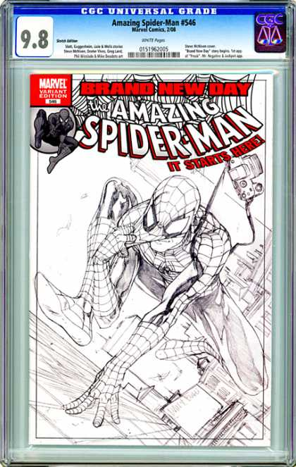 CGC Graded Comics - Amazing Spider-Man #546 (CGC) - Brand New Day - Black And White - Web - Side Of Building - Camera