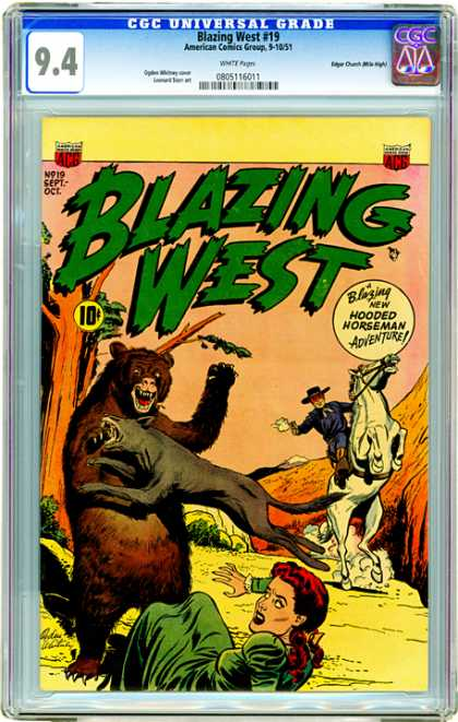 CGC Graded Comics - Blazing West #19 (CGC) - Blazing West - Hooded Horseman - Bear - Horse - Woman