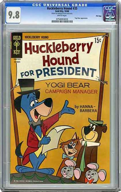 CGC Graded Comics - Huckleberry Hound #35 (CGC) - Huckleberry Hound - Gold Key - 15 Cents - Yogi Bear - For President