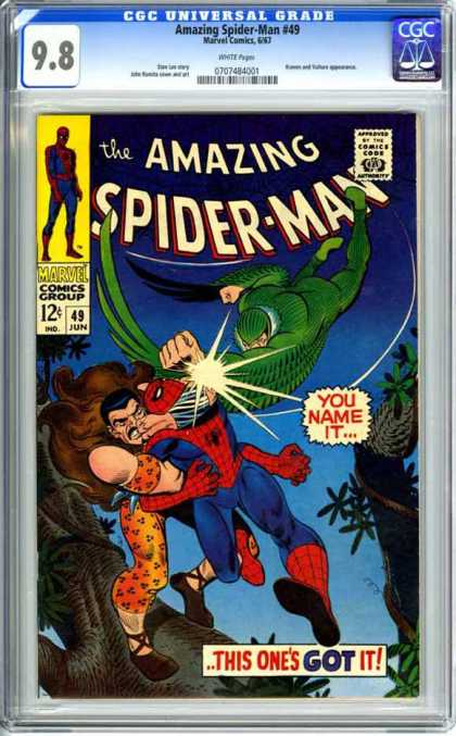 CGC Graded Comics - Amazing Spider-Man #49 (CGC) - Spider-man - Green Wings - Animal Prints - Tree - Battle
