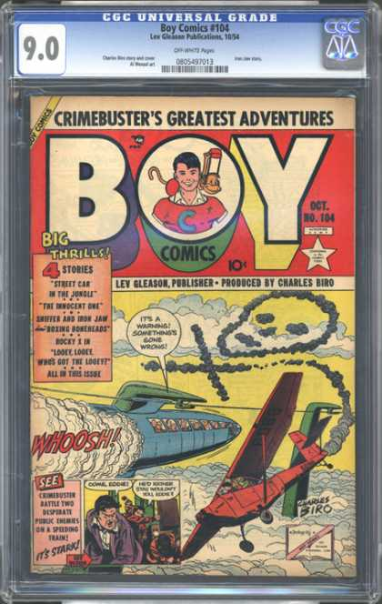 CGC Graded Comics - Boy Comics #104 (CGC) - Crimebusters Greatest Adventures - Street Car In The Jungle - Lev Gleason - Charles Bird - Rocket