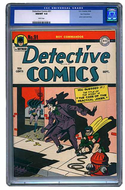 CGC Graded Comics - Detective Comics #91 (CGC) - The Case Of Of The Practical Joker - Boy Commandos - Batman - Robin - Joker