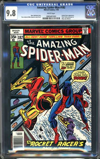 CGC Graded Comics - Amazing Spider-Man #182 (CGC) - Spiderman - Rocket Racers - Skateboard - Gold Costume - Falling
