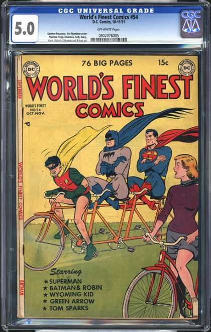 CGC Graded Comics - World's Finest Comics #54 (CGC) - Superman - Batman - Robin - Three Person Bicycle - Woman On Bicycle