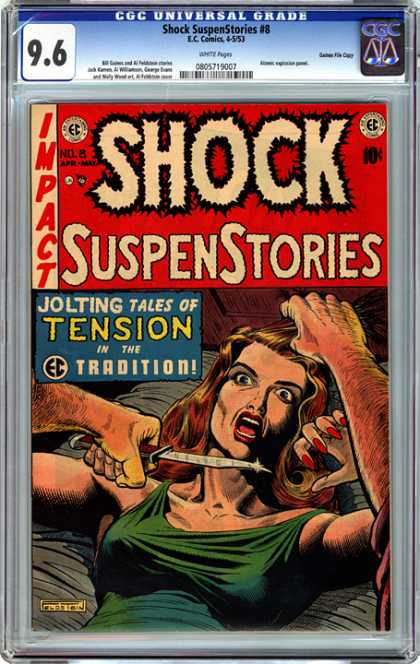 CGC Graded Comics - Shock SuspenStories #8 (CGC) - Shock - Suspenstories - Tension - Knife - Jolting Tales