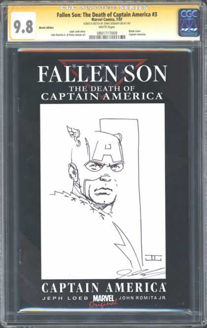 CGC Graded Comics - Fallen Son: The Death of Captain America #3 (CGC) - Captain America - Line Drawing - Face Mask - Wing Helmet - Letter A